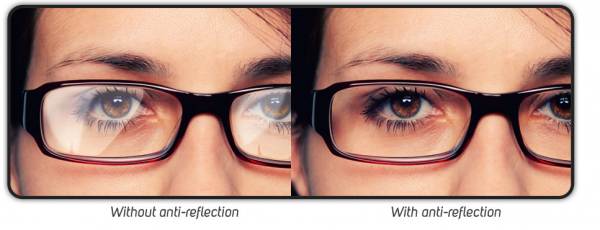 Anti reflective coating on glasses comparison : with and without anti glare coating