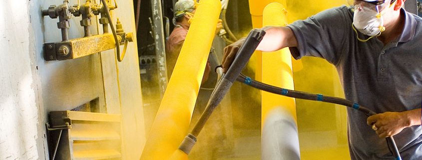 applying yellow powder coating for steel with powder coating supplies in australia