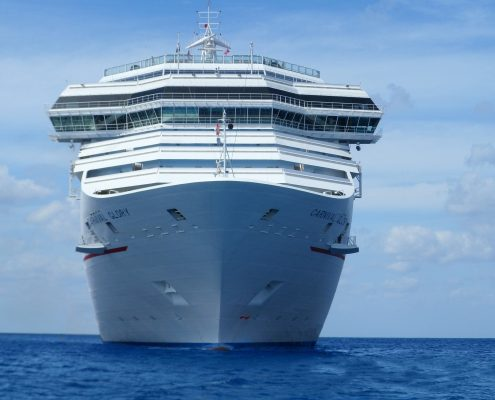 Cruise ship with marine coatings on topside and underwater hull