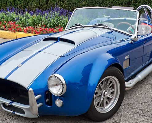 automotive paint coatings in blue and white on vintage car