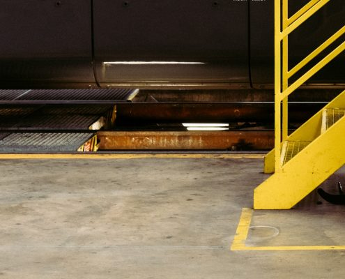 yellow stairs on industrial epoxy floor in melbourne