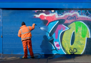 Graffiti removal can be easily done by using solvents that dissolve the graffiti paint