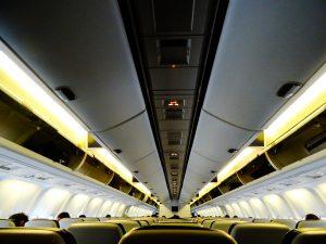 an airplane cabin with pu aerospace coatings