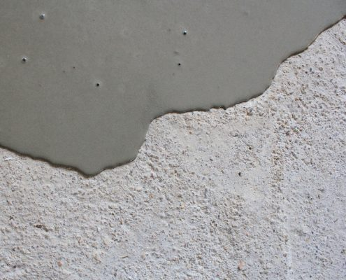 Concrete paint poured on a concrete floor