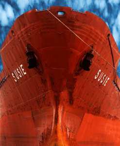 maine coating applied on a hull of a cargo ship