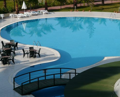 swimming pool paint applied to a concrete pool