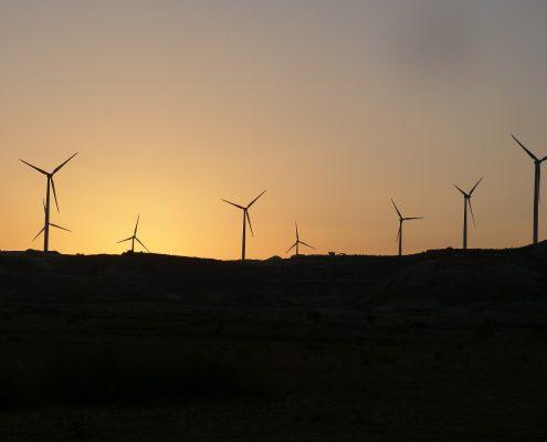 Wind turbine coating on wind mills in the darkness