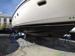newly applied black antifouling paint