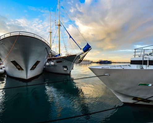 antifouling paint on yacht bottoms in harbour