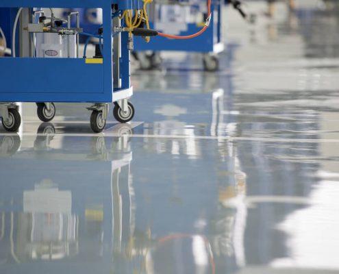 Epoxy coatings applied on industrial floor