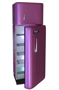 purple fridge made possible by powder coating appliances