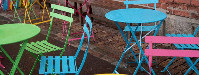 colourful chairs created by powder coating furniture