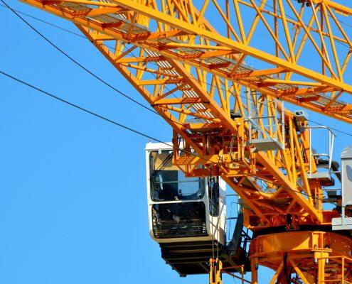 yellow polyurethane coating on a crane