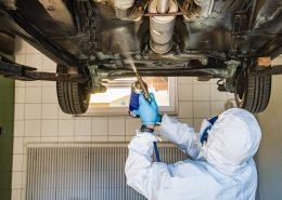 Applying car underbody coatings by spray